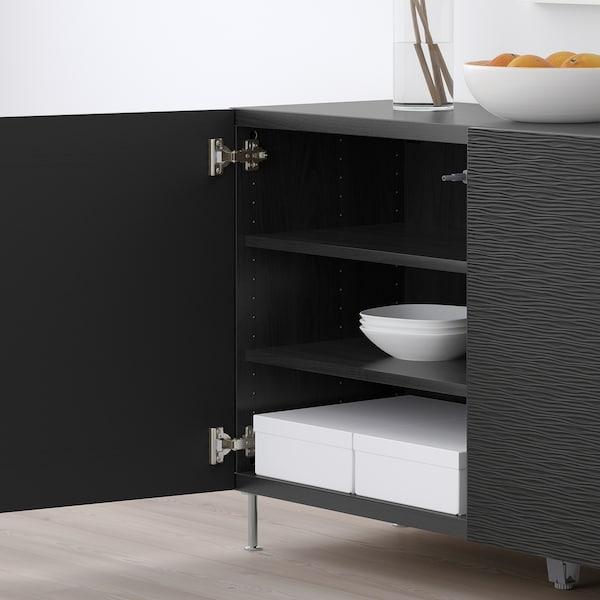 """BESTÅ Storage combination with doors, black-brown/Laxviken/Stallarp black, 47 1/4x15 3/4x29 1/8 """""""