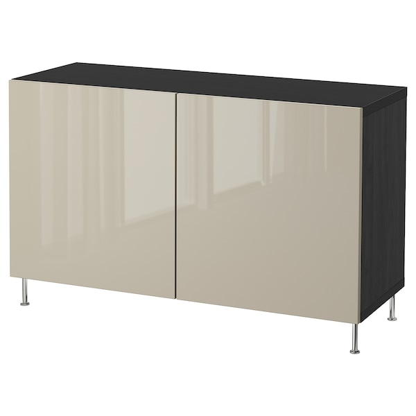 "BESTÅ storage combination with doors black-brown/Selsviken/Stallarp high-gloss/beige 47 1/4 "" 15 3/4 "" 29 1/8 """