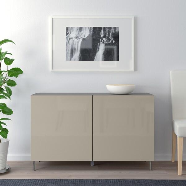 "BESTÅ Storage combination with doors, black-brown/Selsviken/Stallarp high-gloss/beige, 47 1/4x15 3/4x29 1/8 """