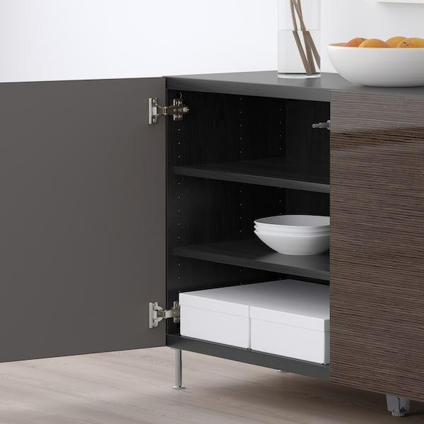 "BESTÅ storage combination with doors black-brown/Selsviken/Stallarp high-gloss/brown 47 1/4 "" 15 3/4 "" 29 1/8 """