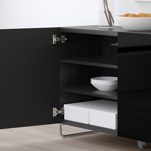 "BESTÅ storage combination with doors black-brown/Selsviken/Sularp high-gloss/black 47 1/4 "" 15 3/4 "" 29 1/8 """
