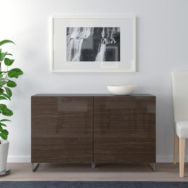 "BESTÅ storage combination with doors black-brown/Selsviken/Sularp high-gloss/brown 47 1/4 "" 15 3/4 "" 29 1/8 """