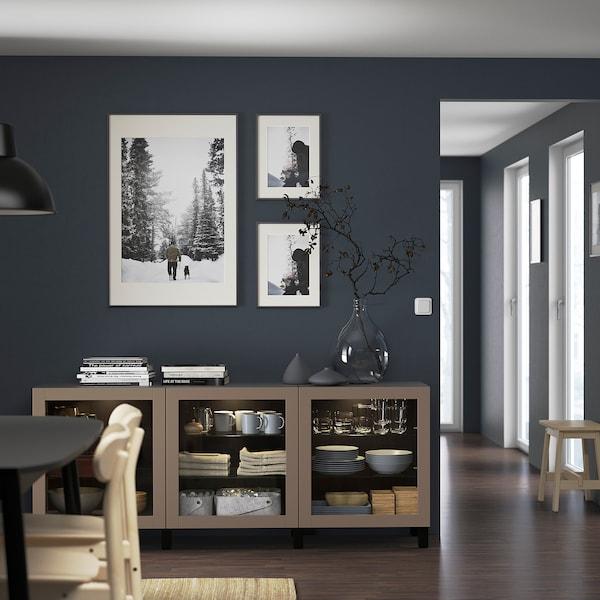 "BESTÅ Storage combination with doors, black-brown Sindvik/Stubbarp/light gray-brown clear glass, 70 7/8x16 1/2x29 1/8 """