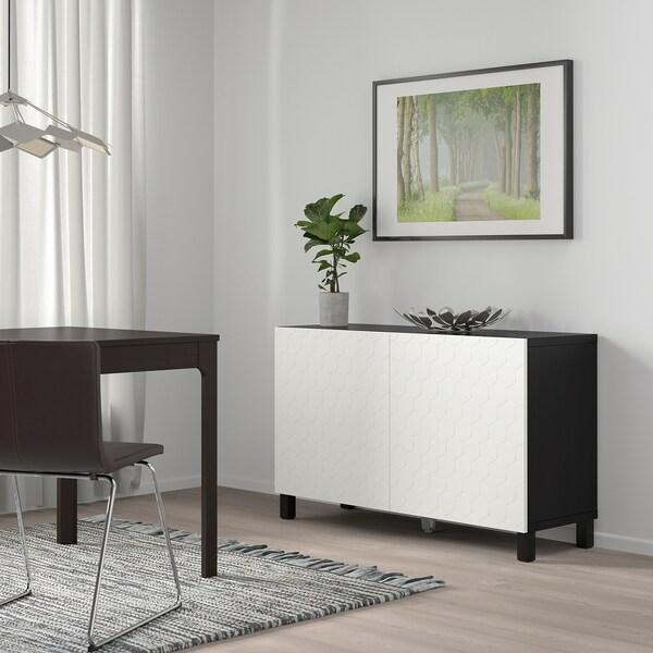 """BESTÅ storage combination with doors black-brown/Vassviken/Stubbarp white 47 1/4 """" 15 3/4 """" 29 1/8 """""""