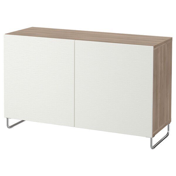 "BESTÅ storage combination with doors walnut effect light gray/Laxviken/Sularp white 47 1/4 "" 15 3/4 "" 29 1/8 """