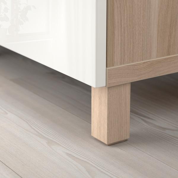 "BESTÅ storage combination with doors walnut effect light gray/Selsviken high-gloss/white 70 7/8 "" 15 3/4 "" 29 1/8 """