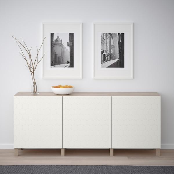 "BESTÅ storage combination with doors walnut effect light gray/Vassviken/Stubbarp white 70 7/8 "" 15 3/4 "" 29 1/8 """