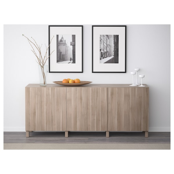 "BESTÅ Storage combination with doors, Lappviken walnut effect light gray, 70 7/8x15 3/4x29 1/8 """