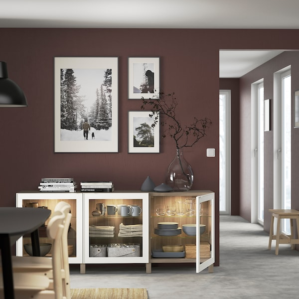 "BESTÅ Storage combination with doors, walnut effect light gray/Glassvik/Stubbarp white clear glass, 70 7/8x16 1/2x29 1/8 """