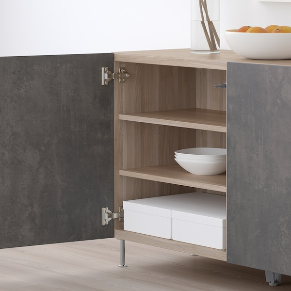BESTÅ Storage combination with doors, walnut effect light gray Kallviken/Stallarp/dark gray concrete effect, 47 1/4x15 3/4x29 1/8 ""
