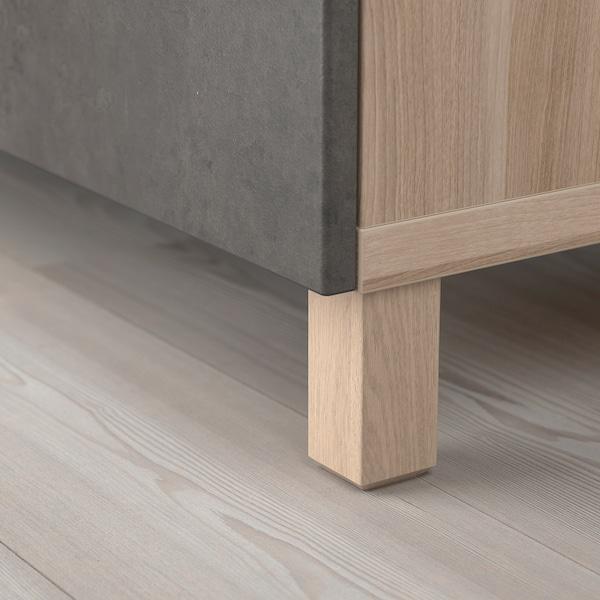 "BESTÅ Storage combination with doors, walnut effect light gray Kallviken/Stubbarp/dark gray concrete effect, 47 1/4x16 1/2x29 1/8 """