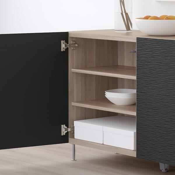 "BESTÅ Storage combination with doors, walnut effect light gray/Laxviken/Stallarp black, 47 1/4x15 3/4x29 1/8 """