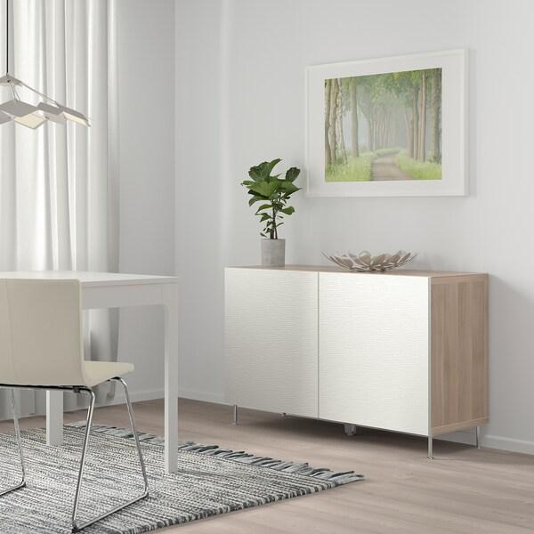 """BESTÅ Storage combination with doors, walnut effect light gray/Laxviken/Stallarp white, 47 1/4x15 3/4x29 1/8 """""""