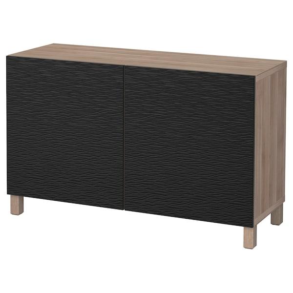 "BESTÅ Storage combination with doors, walnut effect light gray/Laxviken/Stubbarp black, 47 1/4x16 1/2x29 1/8 """