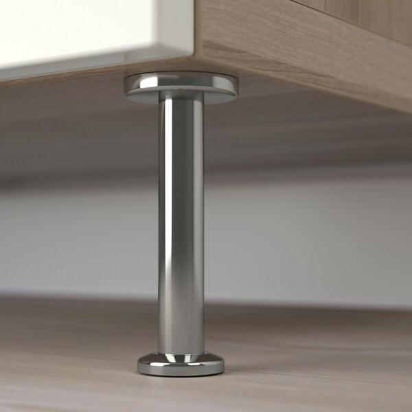 """BESTÅ Storage combination with doors, walnut effect light gray/Selsviken/Stallarp high-gloss/white, 47 1/4x15 3/4x29 1/8 """""""