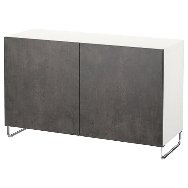 """BESTÅ storage combination with doors white Kallviken/Sularp/dark gray concrete effect 47 1/4 """" 15 3/4 """" 29 1/8 """""""