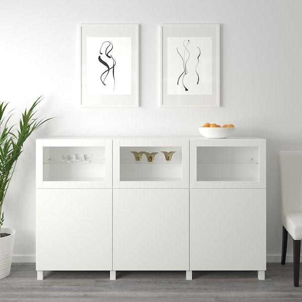"BESTÅ Storage combination with doors, white Lappviken/Sindvik white clear glass, 70 7/8x16 1/2x44 1/8 """