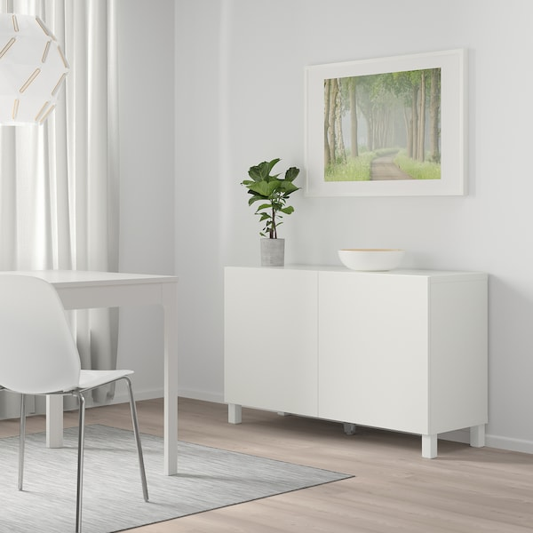 "BESTÅ Storage combination with doors, white/Lappviken/Stubbarp white, 47 1/4x16 1/2x29 1/8 """