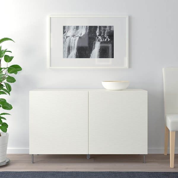 BESTÅ Storage combination with doors, white/Laxviken/Stallarp white, 47 1/4x15 3/4x29 1/8 ""