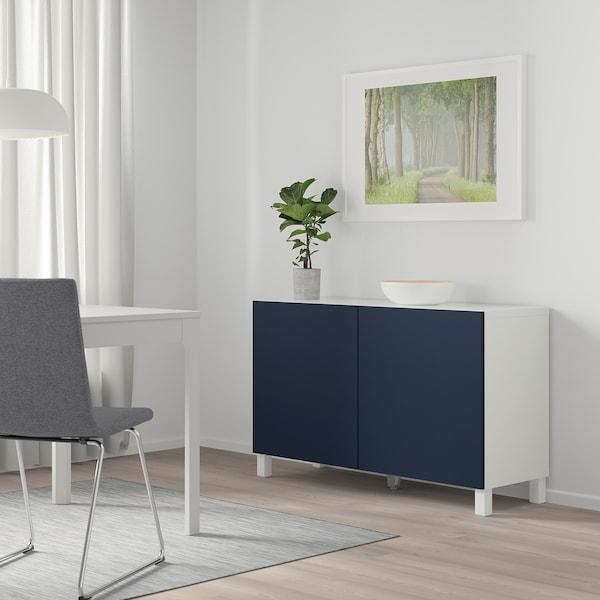 "BESTÅ storage combination with doors white/Notviken/Stubbarp blue 47 1/4 "" 16 1/2 "" 29 1/8 """