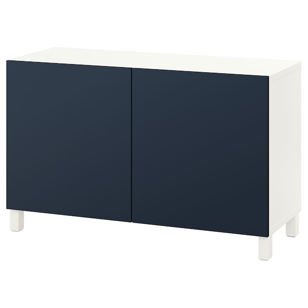 BESTÅ Storage combination with doors, white/Notviken/Stubbarp blue, 47 1/4x16 1/2x29 1/8 ""