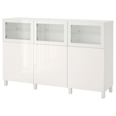 BESTÅ Storage combination with doors, white Selsviken/Glassvik high gloss/white clear glass, 70 7/8x16 1/2x44 1/8 ""
