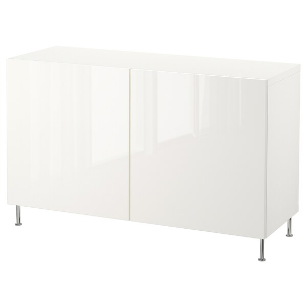 "BESTÅ Storage combination with doors, white/Selsviken/Stallarp high-gloss/white, 47 1/4x15 3/4x29 1/8 """
