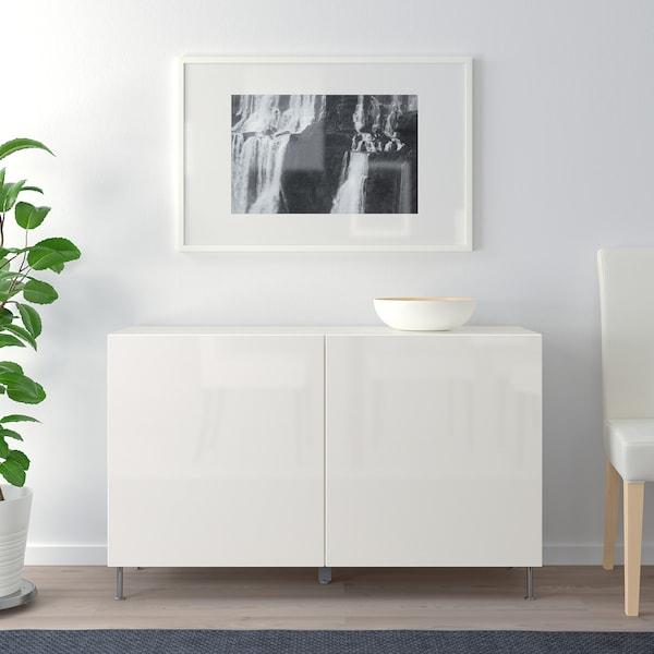 "BESTÅ storage combination with doors white/Selsviken/Stallarp high-gloss/white 47 1/4 "" 15 3/4 "" 29 1/8 """