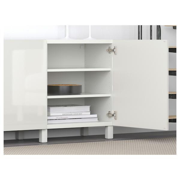 "BESTÅ Storage combination with doors, white/Selsviken/Stubbarp high-gloss/white, 70 7/8x16 1/2x29 1/8 """