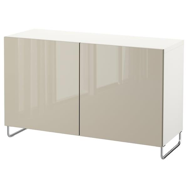 "BESTÅ storage combination with doors white/Selsviken/Sularp high-gloss/beige 47 1/4 "" 15 3/4 "" 29 1/8 """
