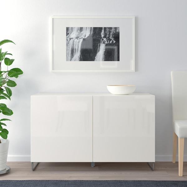 "BESTÅ storage combination with doors white/Selsviken/Sularp high-gloss/white 47 1/4 "" 15 3/4 "" 29 1/8 """