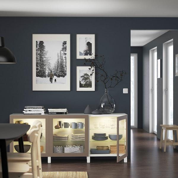 "BESTÅ Storage combination with doors, white Sindvik/Stubbarp/light gray-brown clear glass, 70 7/8x16 1/2x29 1/8 """