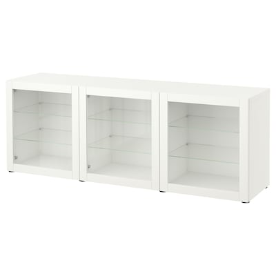 """BESTÅ Storage combination with doors, white/Sindvik white clear glass, 70 7/8x16 1/2x25 5/8 """""""