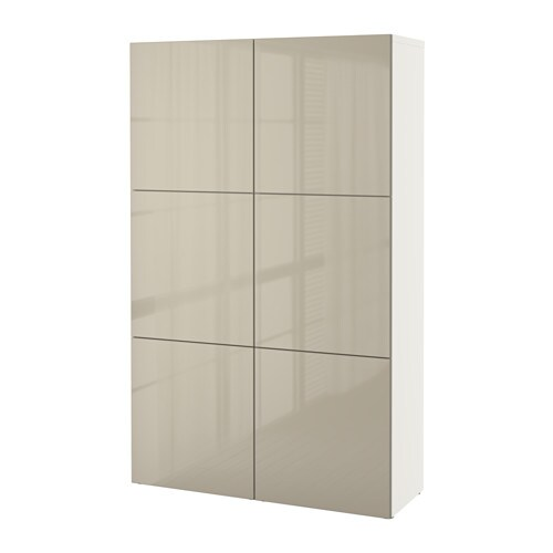 best storage combination with doors white selsviken high gloss beige ikea. Black Bedroom Furniture Sets. Home Design Ideas