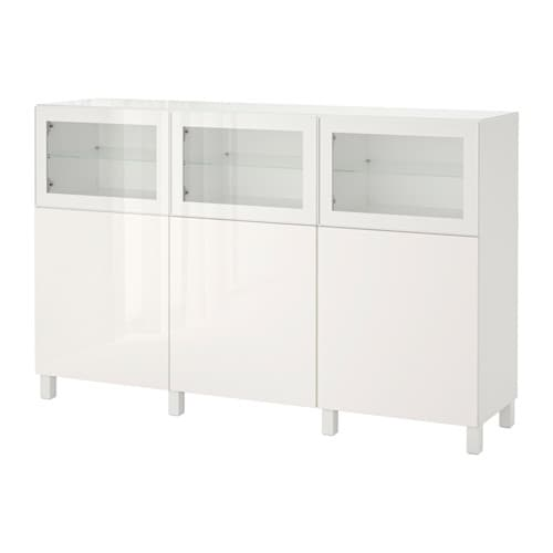 best storage combination with doors white selsviken glassvik high gloss white clear glass ikea. Black Bedroom Furniture Sets. Home Design Ideas