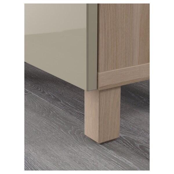 """BESTÅ storage combination with doors walnut effect light gray/Selsviken high-gloss/beige 70 7/8 """" 15 3/4 """" 29 1/8 """""""