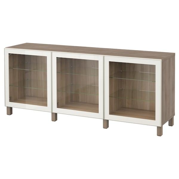 "BESTÅ storage combination with doors walnut effect light gray/Glassvik white clear glass 70 7/8 "" 15 3/4 "" 29 1/8 """