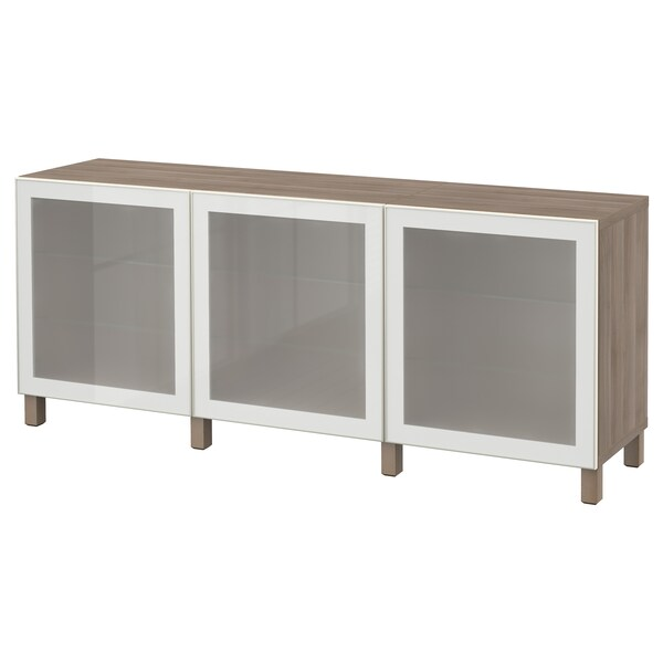 "BESTÅ storage combination with doors walnut effect light gray/Glassvik white frosted glass 70 7/8 "" 15 3/4 "" 29 1/8 """