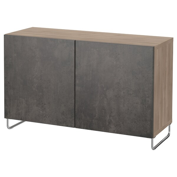 "BESTÅ storage combination with doors walnut effect light gray Kallviken/Sularp/dark gray concrete effect 47 1/4 "" 15 3/4 "" 29 1/8 """
