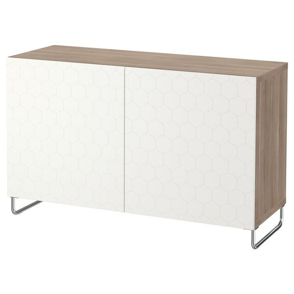 """BESTÅ storage combination with doors walnut effect light gray/Vassviken/Sularp white 47 1/4 """" 15 3/4 """" 29 1/8 """""""
