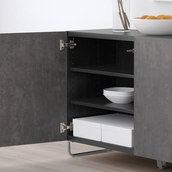 "BESTÅ storage combination with doors black-brown Kallviken/Sularp/dark gray concrete effect 47 1/4 "" 15 3/4 "" 29 1/8 """