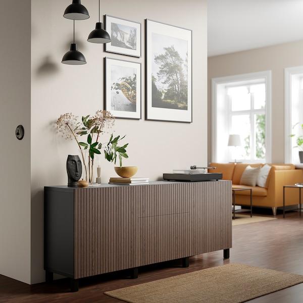 "BESTÅ Storage combination with drawers, black-brown Björköviken/Stubbarp/brown stained oak veneer, 70 7/8x16 1/2x29 1/8 """