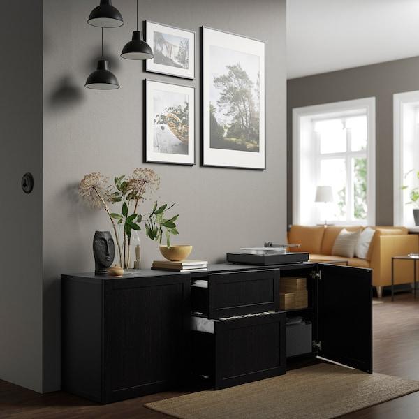 """BESTÅ Storage combination with drawers, black-brown/Hanviken black-brown, 70 7/8x16 1/2x25 5/8 """""""