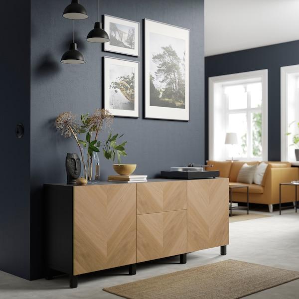 "BESTÅ Storage combination with drawers, black-brown/Hedeviken/Stubbarp oak veneer, 70 7/8x16 1/2x29 1/8 """