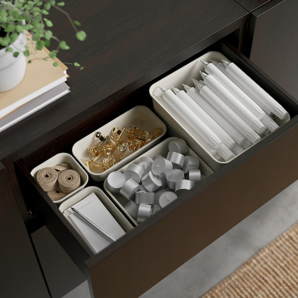 "BESTÅ Storage combination with drawers, black-brown Lappviken/Sindvik black-brown clear glass, 70 7/8x16 1/2x25 5/8 """