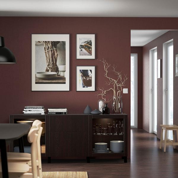 "BESTÅ Storage combination with drawers, black-brown Lappviken/Sindvik/Stubbarp black-brown clear glass, 70 7/8x16 1/2x29 1/8 """