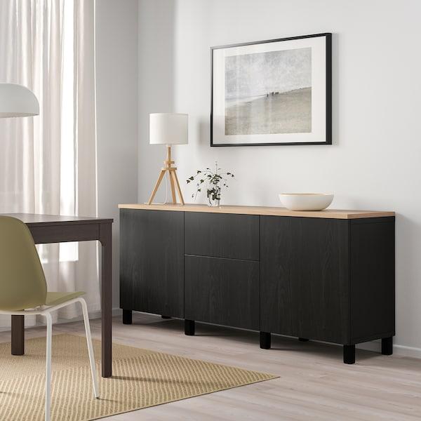 """BESTÅ Storage combination with drawers, black-brown/Lappviken/Stubbarp black-brown, 70 7/8x16 1/2x29 7/8 """""""
