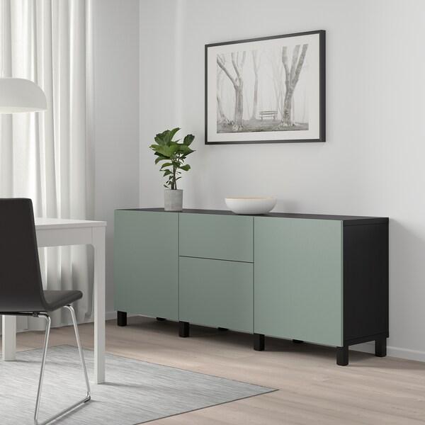 "BESTÅ Storage combination with drawers, black-brown/Notviken gray-green, 70 7/8x16 1/2x25 5/8 """