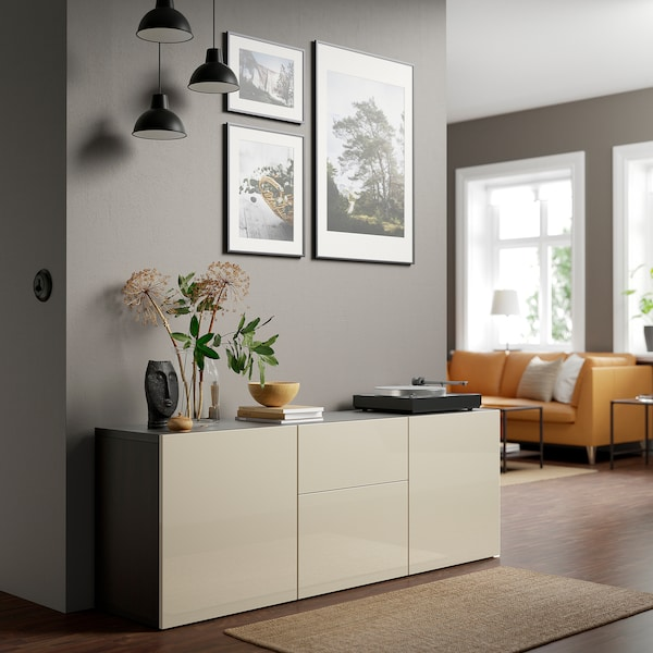 "BESTÅ Storage combination with drawers, black-brown/Selsviken high-gloss/beige, 70 7/8x16 1/2x25 5/8 """