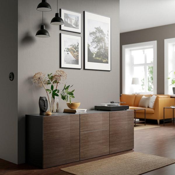 "BESTÅ Storage combination with drawers, black-brown/Selsviken high-gloss/brown, 70 7/8x16 1/2x25 5/8 """